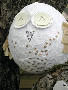 this paper mache forest owl is way to cute!