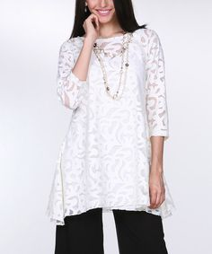 Look what I found on #zulily! White Lace Sidetail Tunic & Tank - Women & Plus #zulilyfinds