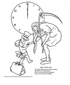 father time coloring pages new years day coloring pages father time and new year