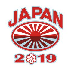 Retro style illustration of a rugby ball with Japanese flag rising sun set inside rugby ball with words Japan 2019 and sakura or cherry blossom flower in number zero on isolated background. #rwc2019 #rwc #rugby #japan2019