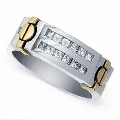 Gold and Diamond Gents Ring - Gold & Diamond Gents Ring. Gold Diamond Rings, Gold Rings, Mens Rings Online, Gents Ring, Princess Cut Diamonds, Band, Bracelets, Silver, Jewelry
