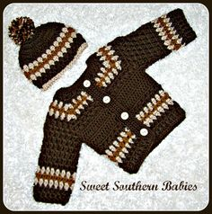 Baby Boy Sweater Set with Hat and Booties  por SweetSouthernBabies