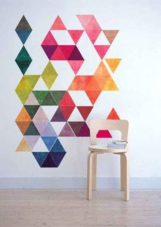 Geometric pattern art Diy Decorating how to make room decoration Simple Wall Paintings, Creative Wall Painting, Diy Wall Painting, Creative Walls, Diy Wall Art, Wall Decor, Room Decor, Creative Design, Diy Wand