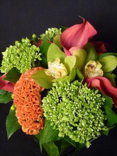 An arrangement featuring orange coxcomb, green hydrangea, green cymbidium orchids and pink miniature calla lilies.  To purchase any of our floral selections, as gifts or décor, please call us at 800.520.8999 or visit our e-commerce portal at www.Starbrightnyc.com. This composition of flowers is generally available for same day delivery in New York City (NYC).