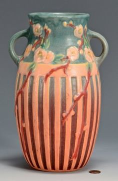 """Roseville Art pottery vase, Cherry Blossom pattern with matte glaze in colors of turquoise and coral. Base marked in red 626. 10 1/4"""" H. Late 19th/early 20th century. ase,"""