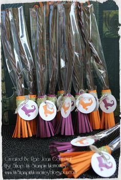Items similar to Set of 12 Witches Broom Halloween Party Favor Treat Bag Kit on Etsy Halloween Party Favors, Halloween Goodies, Halloween 2013, Halloween Trick Or Treat, Halloween Cards, Holidays Halloween, Halloween Treats, Happy Halloween, Halloween Decorations