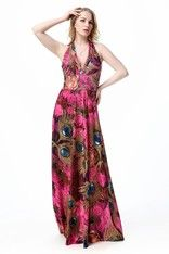 Boho Chic Deep V-neck Summer Maxi Beach Dress – Pink Peacock - Plus Size up to 20W