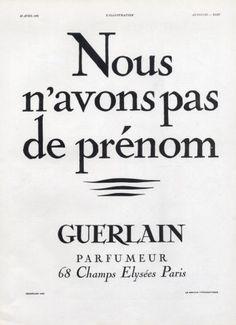 * Nous n'avons pas de prénom - 1930 GUERLAIN