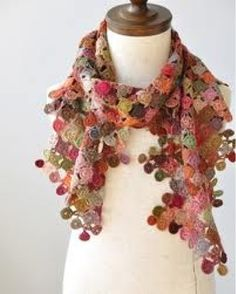 lookit this lovely crochet shawl/scarf. this makes me actually want to learn crochet. it would be such a great use of leftover bits of project yarn! Shawl Crochet, Love Crochet, Learn To Crochet, Crochet Scarves, Crochet Clothes, Knit Crochet, Crocheted Scarf, Beautiful Crochet, Crochet Flower Scarf