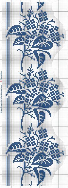 Cross Stitch Tree, Cross Stitch Borders, Cross Stitch Designs, Cross Stitch Patterns, Crochet Patterns, Filet Crochet, Hand Crochet, Crochet Lace, Knitting Stitches