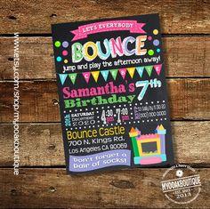 Bounce house party birthday invitation trampoline jump invite chalkbaord pink girl birthday trampoline digital printable invitation 14051 by myooakboutique on Etsy