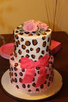 Leopard baby shower cake
