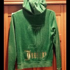 """Juicy Couture Hoody Very cute 2 pocket dark lime green hoody.  Barely worn, very soft fabric.  Gold """"Juicy"""" letters on back, Juicy Couture Tops"""