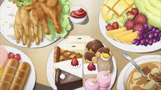Gamberi e pollo fritto, frutta, pane, minestra e dolci