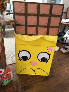 Shopkin standing characters using cardboard boxes and wrapping paper