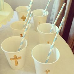First Communion Party. White paper cups with gold 3-D stickers! Sold at modernlola.com