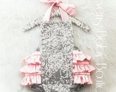 70499b87f5ff Soft Pink Silver Sequin Romper   Baby Romper   Romper   First Birthday  Outfit