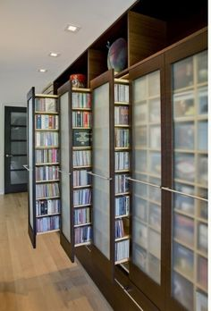 DVD storage can be difficult for small apartments and houses. Check out these 10 clever and easy DVD storage ideas for small spaces for a creativity push. House Ideas, Dream Library, Library Room, Closet Library, Hallway Closet, Future Library, Home Libraries, Book Nooks, Reading Nooks