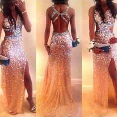 Sexy Backless Crystal Front Slit Long Prom Dress Evening Dresses LD003