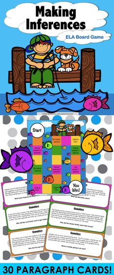Inference: Inference is such a challenging skill to learn, but this inference game can make it much more fun! This inference game contains 30 paragraph game cards and a game board to help students practice making inferences. This inference game works great as a pair/group activity, or for use in literacy centers.