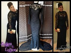 A full black lace matric farewell dress in a soft mermaid style. Suitable not only for a matric dance but also a Grade 7 Farewell Dress. Matric Farewell Dresses, Matric Dance Dresses, Mermaid Style, Dress Making, Custom Made, Choker, Neckline, Train, Lace