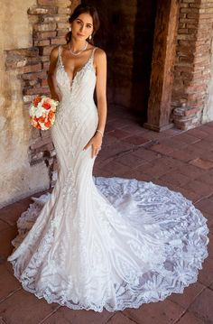 Beautiful Embroidered Backless Mermaid Wedding Dress / Bridal Gown with V Neck Cut and the Train 2019 by Kitty Chen Couture Princess Wedding Dresses, Best Wedding Dresses, Cheap Wedding Dress, Boho Wedding Dress, Bridal Dresses, Mermaid Wedding, Couture Wedding Dresses, Destination Wedding Dresses, Wedding Gowns