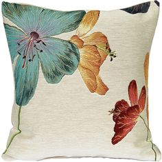 Delicate blue, yellow and red Geraniums are set against a cream background on this genuine French tapestry pillow. Buy Pillows, Floral Throw Pillows, Toss Pillows, Decorative Throw Pillows, Accent Pillows, Geranium Plant, Floral Throws, Red Geraniums, Plant Art