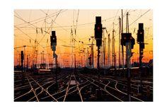 Railroad Tracks At Sunset Art Print by Patrick Poendl at Art.com
