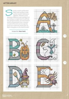 Cross Stitching, Cross Stitch Embroidery, Cross Stitch Patterns, Graph Paper Art, Jar Gifts, Gift Jars, Halloween Cross Stitches, Cross Stitch Alphabet, Letters And Numbers
