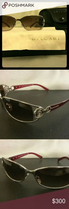 Bvlgari sunglasses Sexy hot burgundy sunglasses with gorgeous crystal design on its legs!   Worn only a few times since it didnt fit the shape of my face as well as my other sunglasses Comes with bvlgari sunglass case and wipe cloth 100% authentic bvlgari Accessories Sunglasses