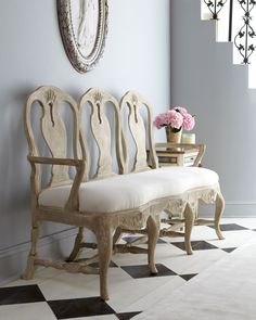 Swedish Rococo Bench  - Tara Shaw ( Bench Wood Fabric Antique Upholstered Antique white Living room)