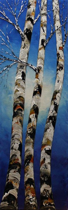 Birch Tree PAINTING Original Landscape Painting Palette Knife