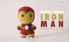 Iron Man Amigurumi Doll inspired by Marvel Comics // Marvel Crochet Pattern . Crochet Disney, Crochet Geek, Basic Crochet Stitches, Crochet Patterns, Big Head Baby, Knitted Stuffed Animals, Bunny Crafts, Crochet Quilt, Crochet Round