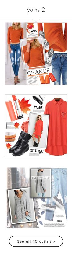 """yoins 2"" by meyli-meyli ❤ liked on Polyvore featuring Lancaster, fallsweaters, yoins, yoinscollection, loveyoins, Bobbi Brown Cosmetics, orangecrush, Paul Frank, Minime and beauty"