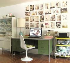 I am particularly smitten with the edited and orderly mood board above the desk. #moodboard #office