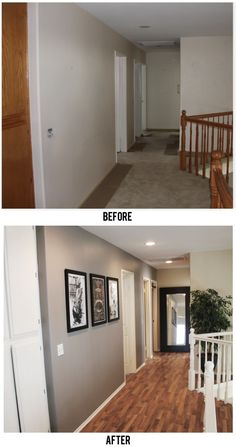 Before After hallway makeover. Beautiful! Love the idea of tall mirror at end of hallway!