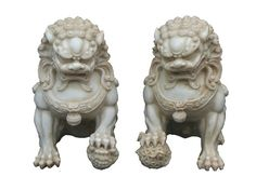 Pair Chinese Off White Marble Like Fengshui by GoldenLotusAntiques
