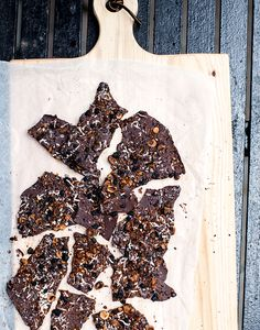 salted dark chocolate bark with hazelnuts, sesame seeds, coconut, currants + cacao nibs | what's cooking good looking
