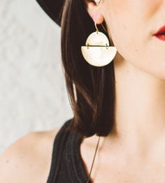 Eclipse Brass Moon Earrings | Inspired by the orbit of celestial bodies, and the occasional ... | Earrings