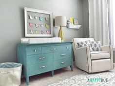Classic Aqua and Gray Bird Nursery with Fun DIY accents - love this budget nursery completed for $150!