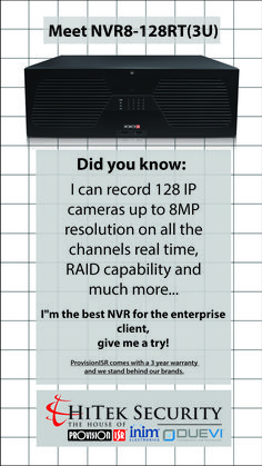Meet the new NVR8-128RT(3U)! I can record 128 IP cameras up to 8MP resolution on all the channels real time, RAID capability. I can display 4K video quality and I can take 16 Hard drives. I can record Audio and I can also trigger alarm in and out. Did you know, I can also be used with video analytics and much more... I'm the best NVR for the enterprise client, give me a try! For more information on this product, go check out our website. Record Audio, Security Products, Nanny Cam, Ip Camera, Did You Know, Cameras, Give It To Me, Channel, Meet