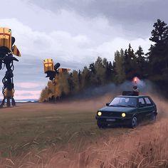 Stockholm, Sweden- based Self-taught illustrator Simon Stålenhag creates incredible illustrations depicting a world of science fiction inhabited by roaming mech robots. Arte Sci Fi, Sci Fi Art, Arte Robot, Robot Art, Robots, Ralph Mcquarrie, Art Science Fiction, Sci Fi Kunst, Concept Art World