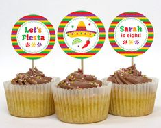 Fiesta Party Cupcake Toppers or Party Circles by paperspice