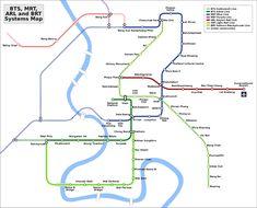 Linhas de metro e trem bangkok
