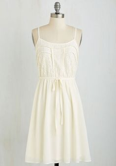 A Delight to Behold Dress - Mid-length, White, Solid, Casual, Spaghetti Straps, Spring, Summer