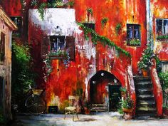'Rome Courtyard' by Gleb Goloubetski   Oil on Canvas   120cm x 160cm