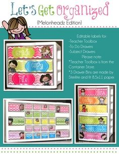 "You are purchasing a set of labels to help you stay organized!                                             ***Update***Two additional sets of labels have been added for a weekly drawer bin and monthly drawers.  Plus, four mini label sets!  Please look next to the preview to see additional sets.                                                    ********This file includes three sets of labels for a teacher toolbox, a ""to do"" set of drawers, and a subject drawer bin."