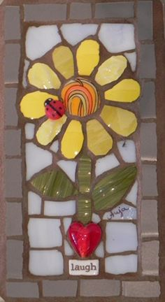 Little Pot of Sunflowers by Anja Hertle ~  Maplestone Gallery  ~  Contemporary Mosaic Art
