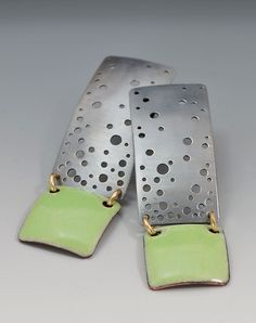 Mint Green Starry Night Enamel Earrings: Reiko Miyagi: Enameled Earrings - Artful Home