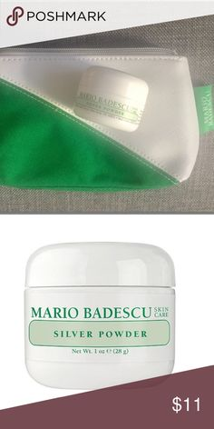 Mario Badescu silver powder and cosmetic case Unused unopened  Mario Badescu cosmetic case: green and white canvas with nylon interior.   Silver Power:   Helps unclog pores, draws out stubborn blackheads.  Absorbs excess oil and impurities.  Decongest and clarify complexions with this powerful, oil-absorbent powder. Natural minerals like kaolin, calcium carbonate, and zinc oxide help purify pores and reduce stubborn blackheads. Excess oil, buildup, and pore-clogging impurities are drawn out…